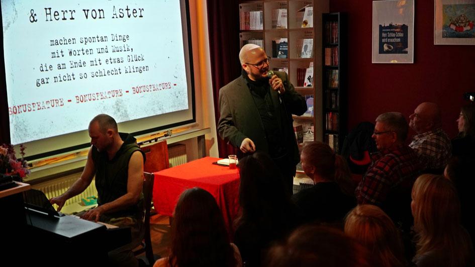 Christian von Aster und Caspar Coppelius bei der Buchpremiere zu Neudeutsch 2.0